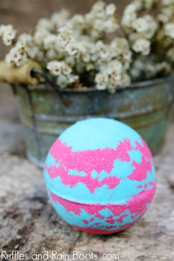 close up of an easy decongestant bath bombs and shower fizzies recipe