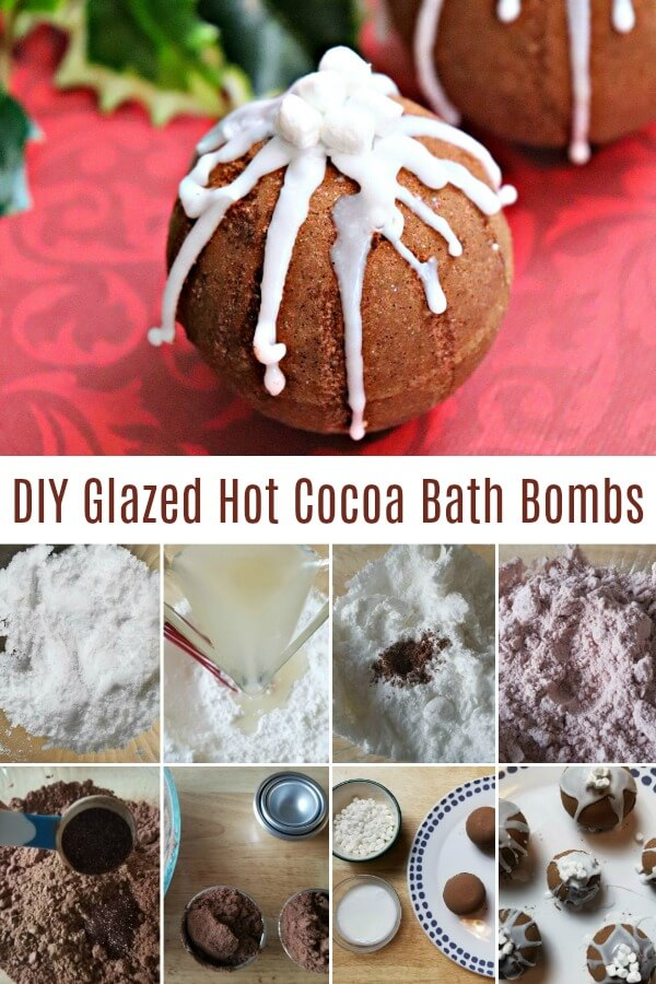 photo collage of creative bath bombs with text which reads DIY glazed hot cocoa bath bombs