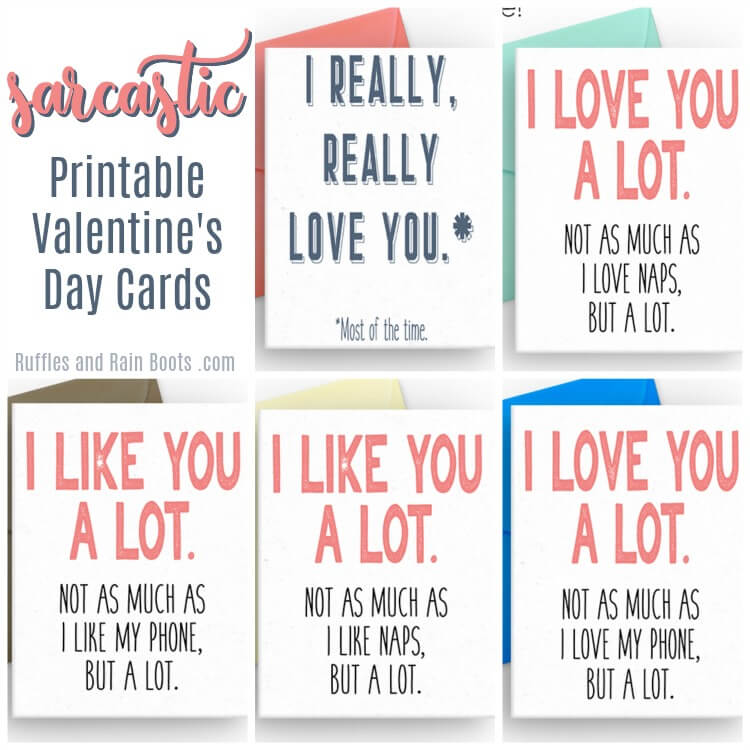 Collage of Sarcastic Printable Valentines Day Cards