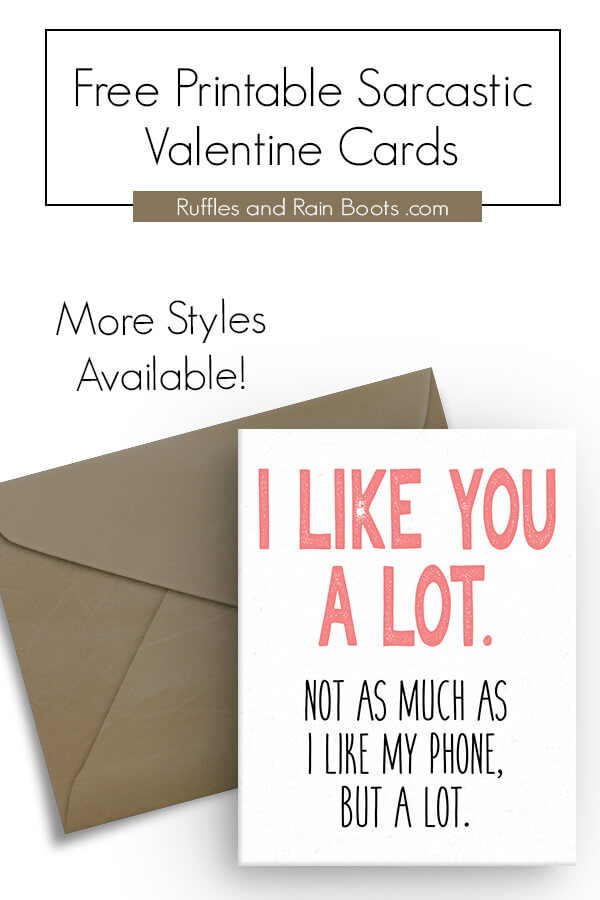 Funny and Sarcastic Printable Valentines Day Cards for Husbands and Wives