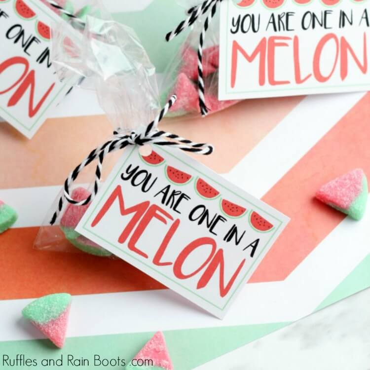 Watermelon Candy Valentine Printable Cards