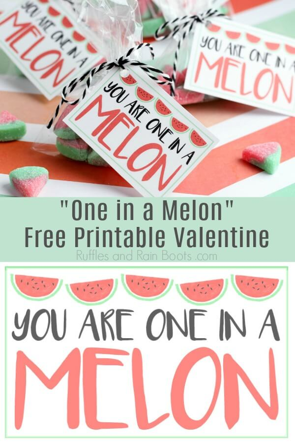photo collage of one in a melon Valentine card with text which reads one in a melon free printable Valentine