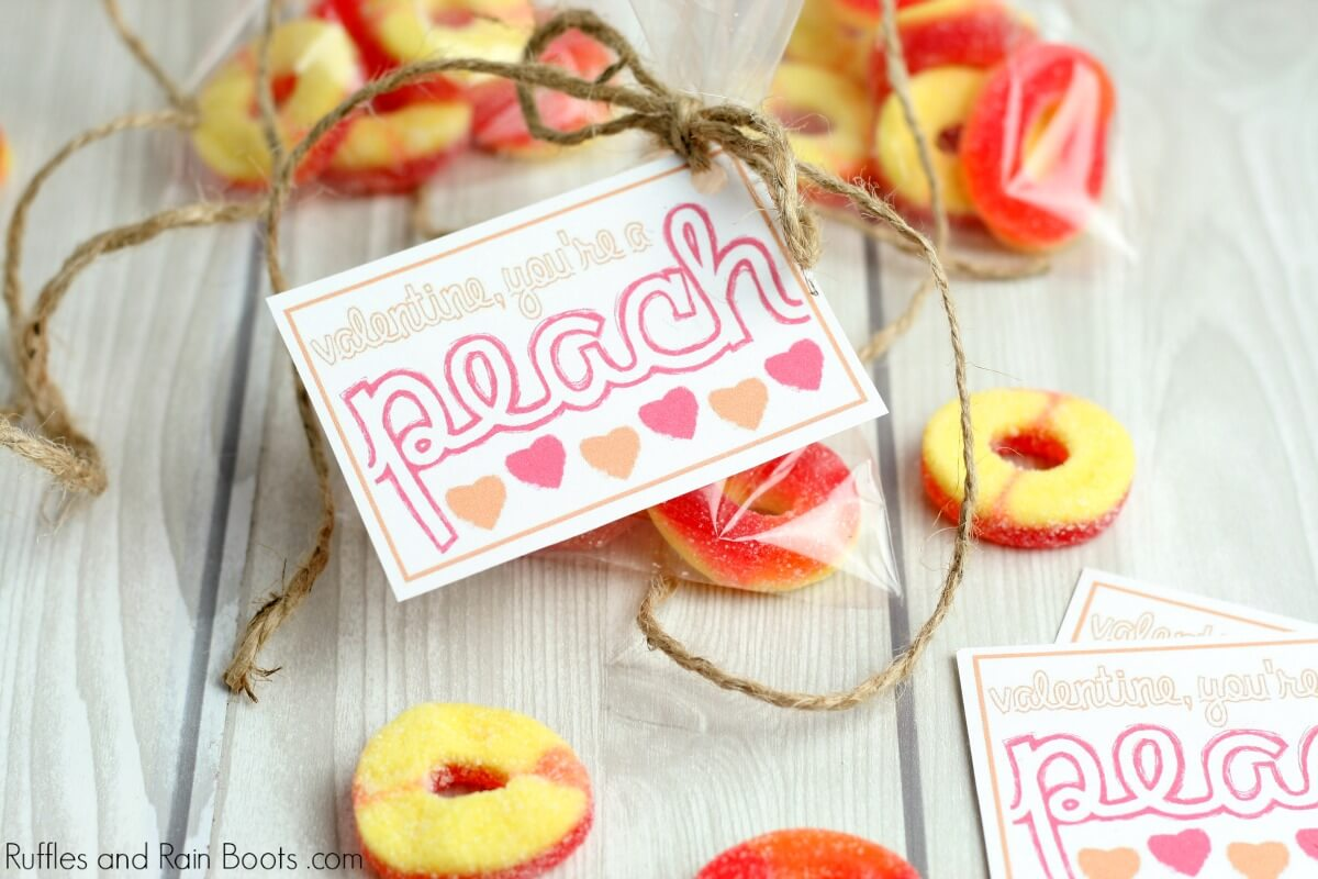 close up of peach candy Valentine printable cards for kids