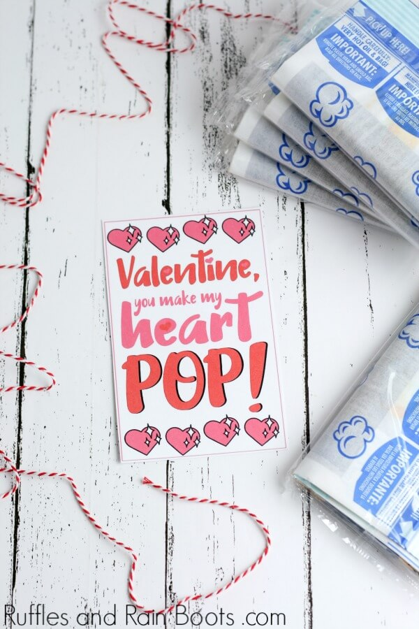 Popcorn Valentine Printable Cards - Make Valentine's Day Easy!