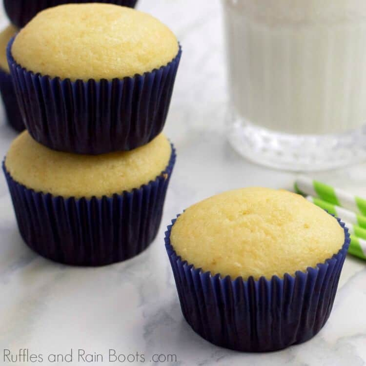 Easy Vanilla Cupcake Recipe on Marble Background