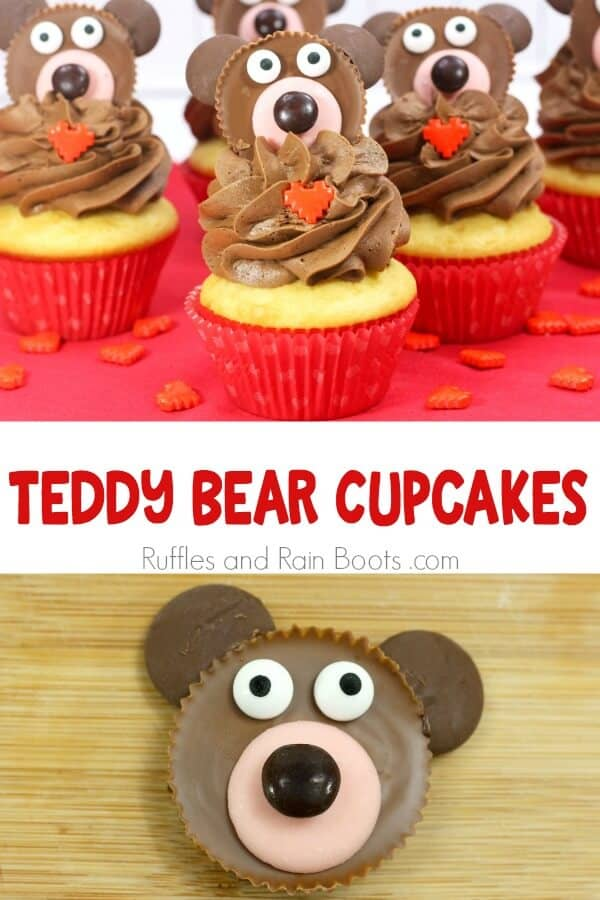 photo collage of bear cupcakes with text which reads teddy bear cupcakes