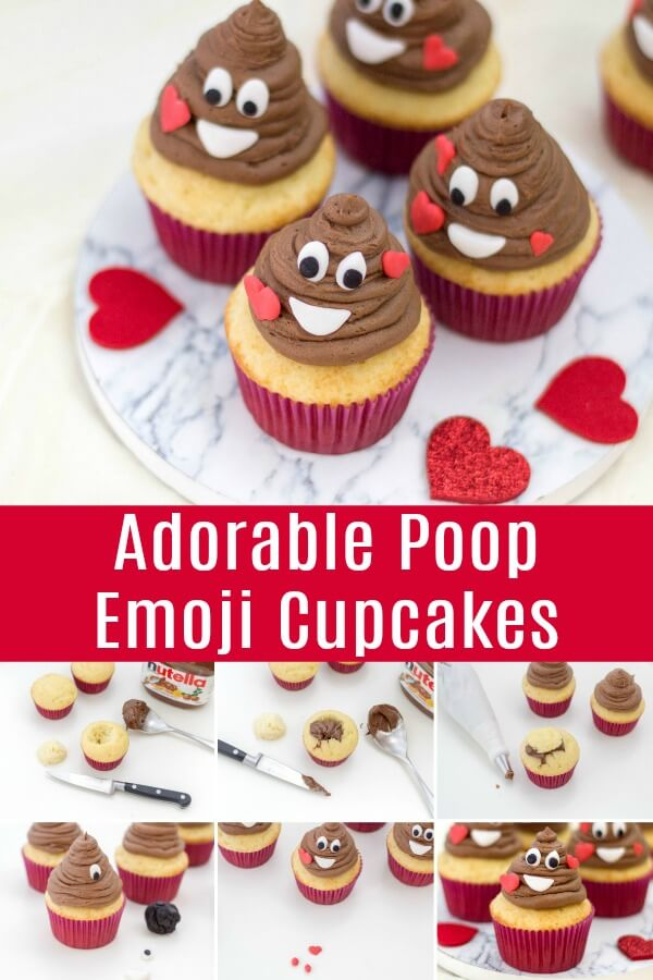 photo collage vanilla cupcakes with chocolate frosting as a Valentine's Day cupcake idea with text which reads adorable poop emoji cupcakes