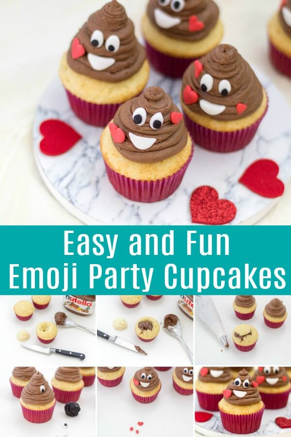 photo collage of poop emoji cupcakes with text which reads Easy and Fun Emoji Party Cupcakes