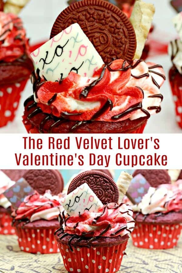 photo collage of amazing cupcake decorating idea with text which reads red velvet lovers valentines day cupcake