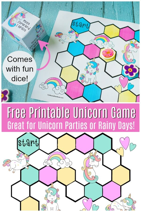 printable unicorn game with cube photo collage with text which reads Free Printable Unicorn Game great for unicorn party