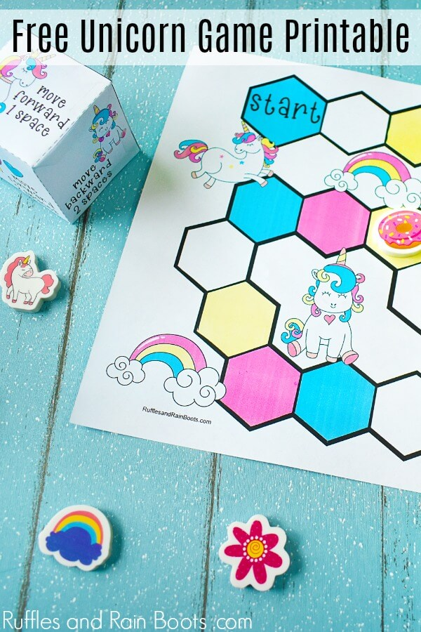 unicorn game on blue background with text which reads Free Unicorn Game Printable
