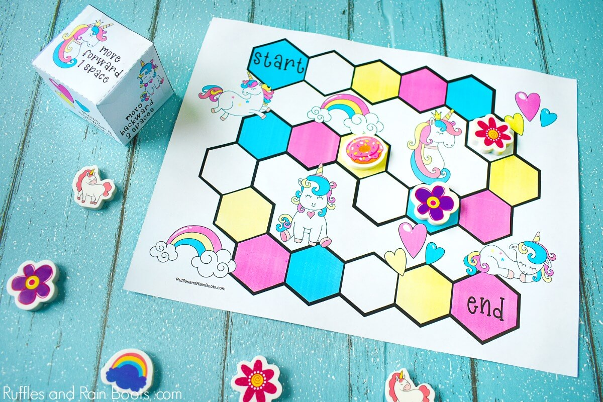 Free Printable Unicorn Party Game on blue wood background