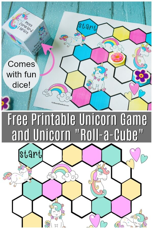 unicorn game on blue background with text which reads Free Printable Unicorn Game and Unicorn Roll a Cube