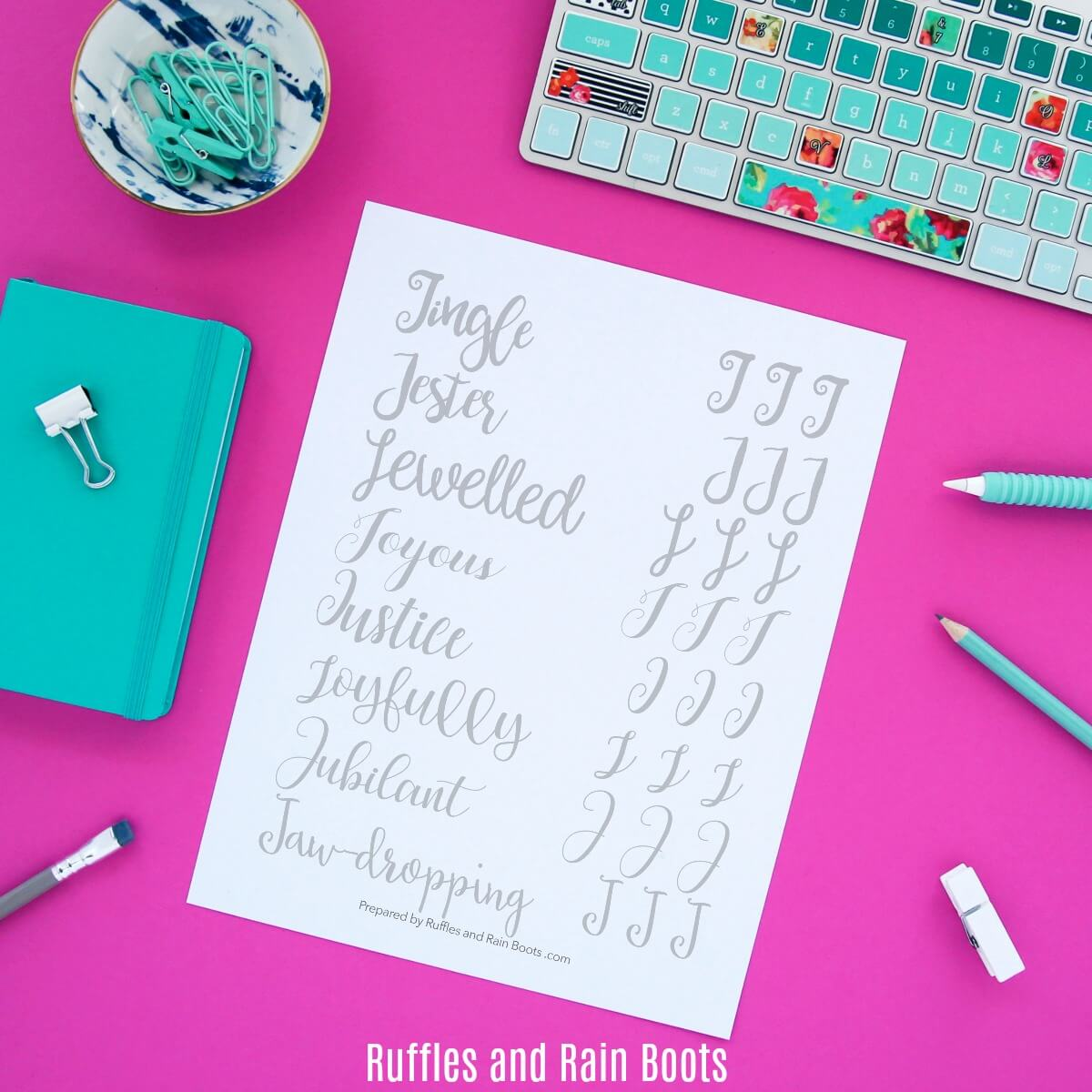 Free Letter J Hand Lettering Practice Sheets