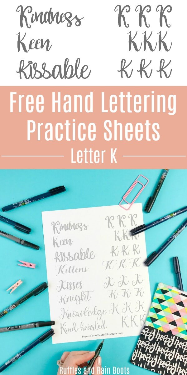 lettering sheets on blue background with text which reads free letter K hand lettering practice sheets