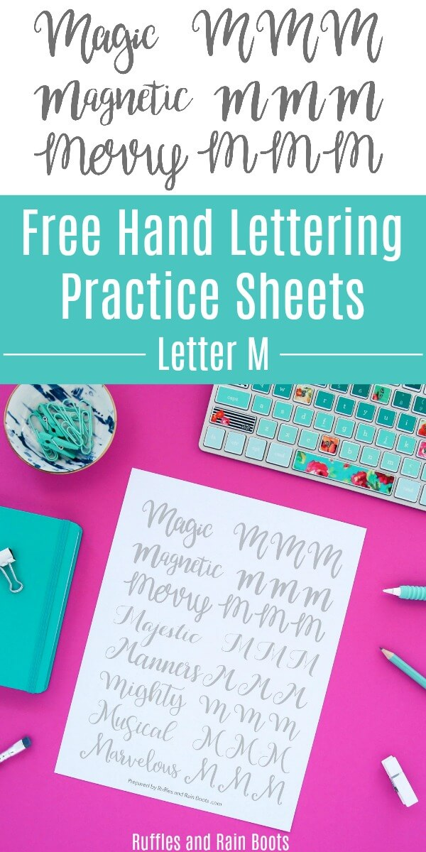collage of brush calligraphy on pink background with text which reads Free Letter M Hand Lettering Practice Sheets