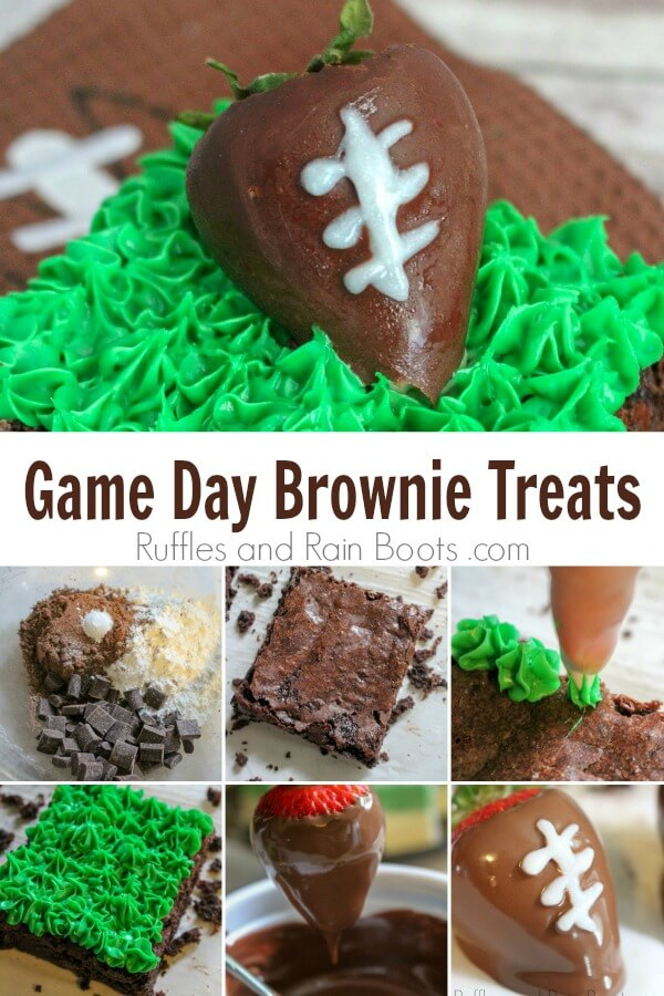 photo collage of Super Bowl dessert idea with text which reads Game Day Brownie Treats