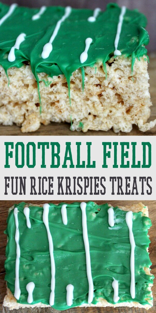photo collage of football field rice krispies recipe