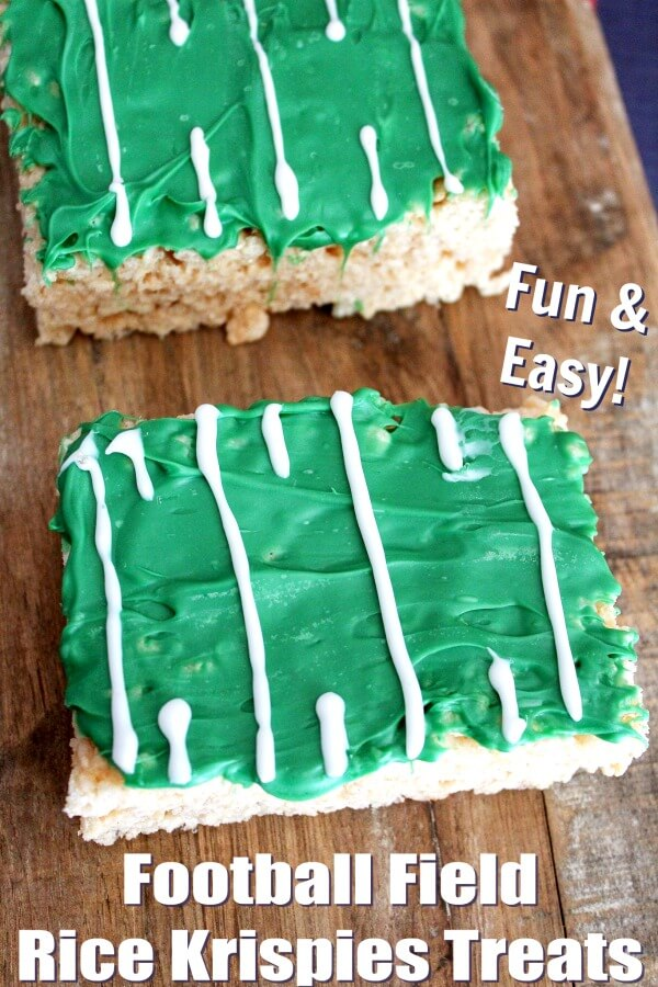 close up of football field rice krispies treats on wood background