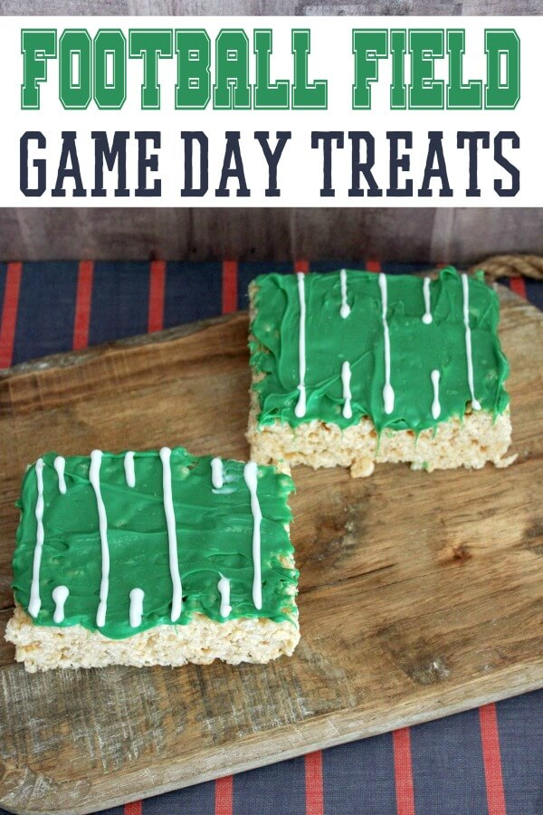 easy football dessert idea on wood background with text which reads Football Field Game Day Treats
