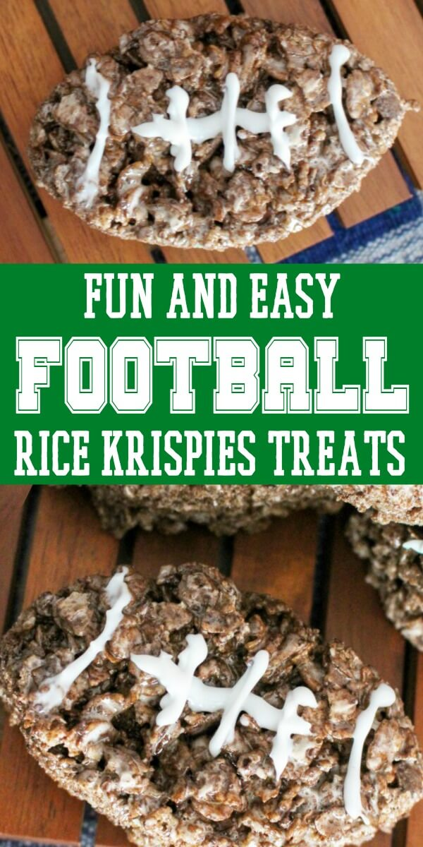 photo collage of a fun football food with text which reads fun and easy football rice krispies treats