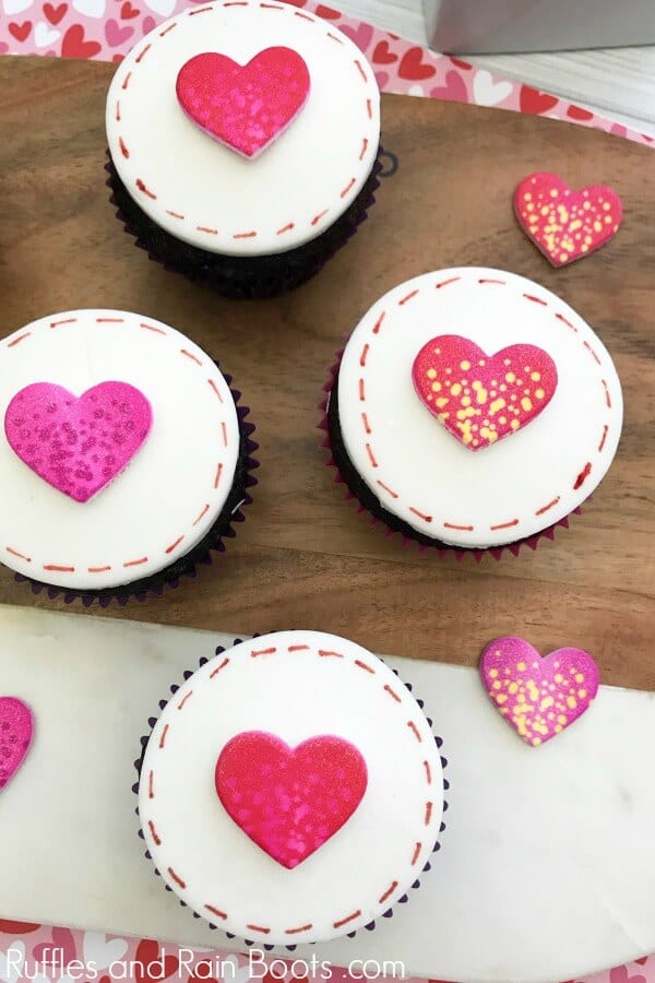 love letter cupcakes on Valentine's Day and wood background
