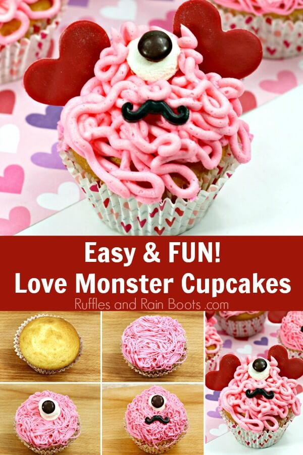 photo collage of Valentines Day cupcakes with text which reads easy and fun love monster cupcakes