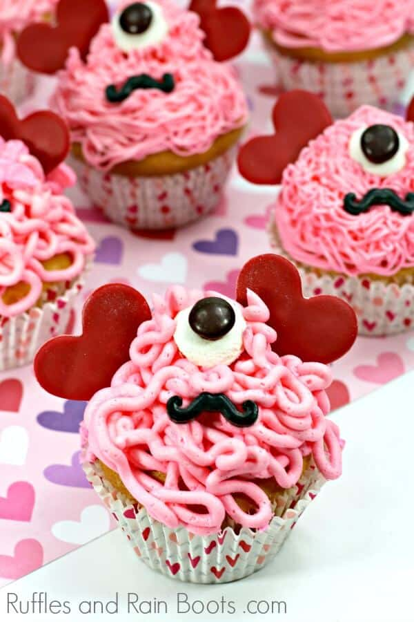 close up of love monster cupcakes for Valentines Day
