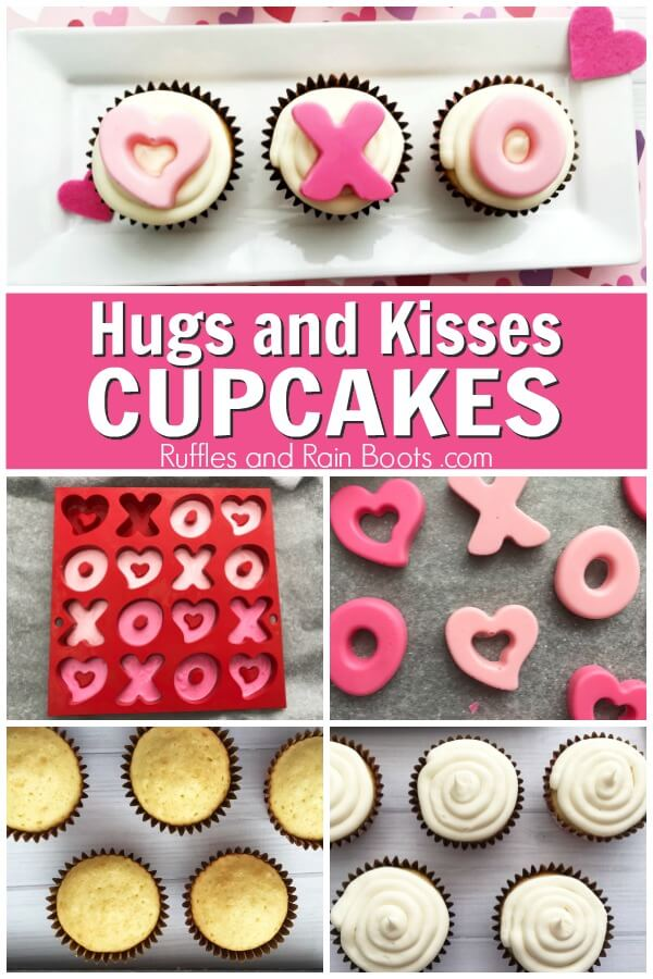 photo collage of how to make easy valentines day cupcakes with text which reads hugs and kisses cupcakes