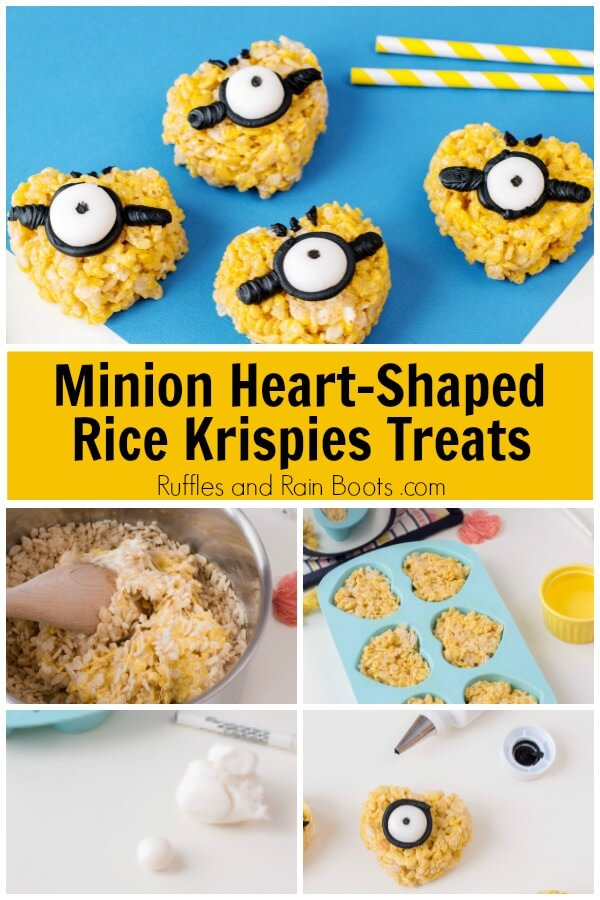 collage of how to make rice krispies with text which reads Minion Heart-Shaped Rice Krispies Treats