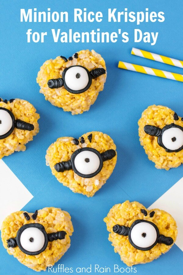 minion rice krispies treats on blue background with text which reads minion rice krispies for valentines day