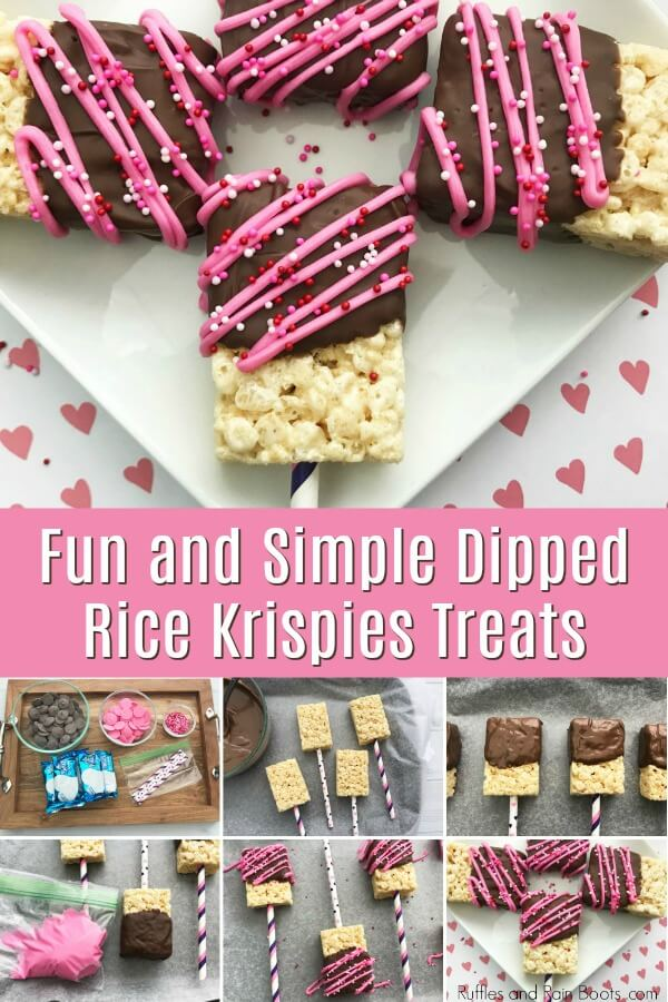 Valentines Day rice cereal treats collage with text which reads Fun and Simple Dipped Rice Krispies Treats