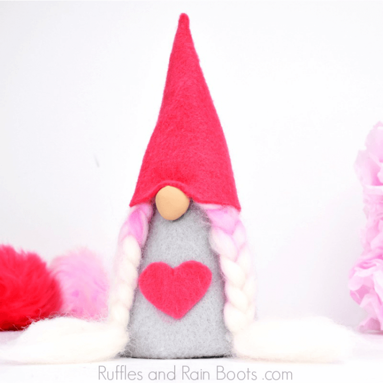girl Valentine felt gnome on white background