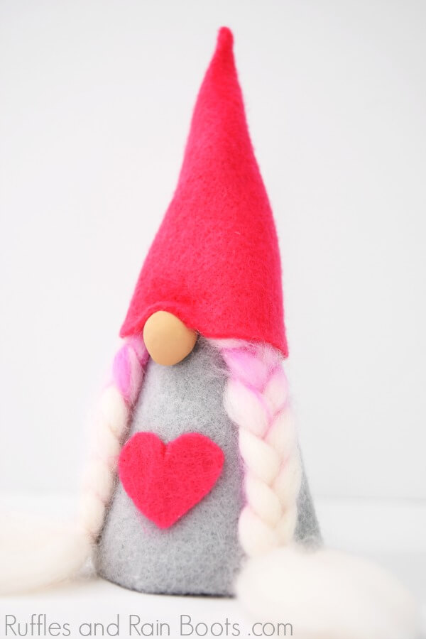girl gnome for Valentines Day decor on white background