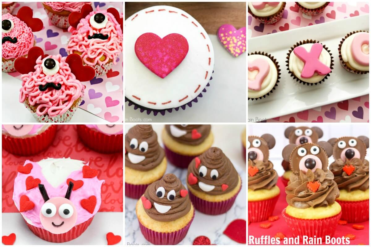 photo collage of Valentines Day cupcake ideas