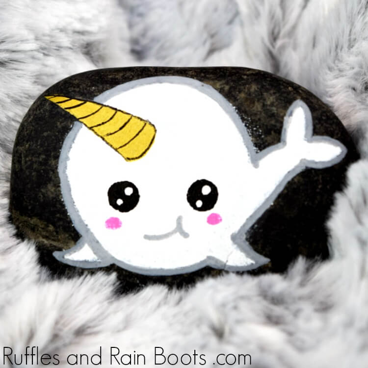 Kawaii Narwhal Rock Painting on fabric background
