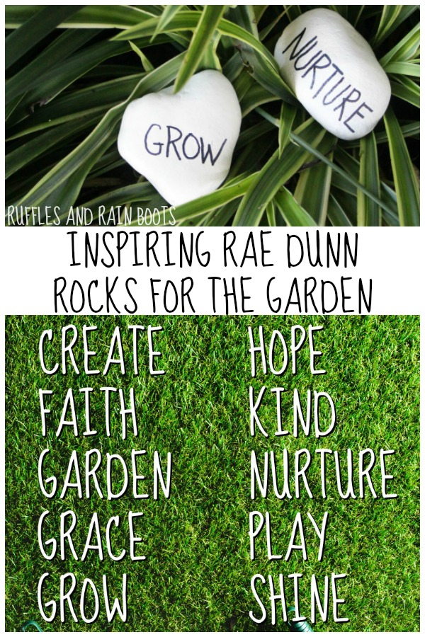 painted rocks in garden background with text which reads inspiring rae dunn rocks for the garden