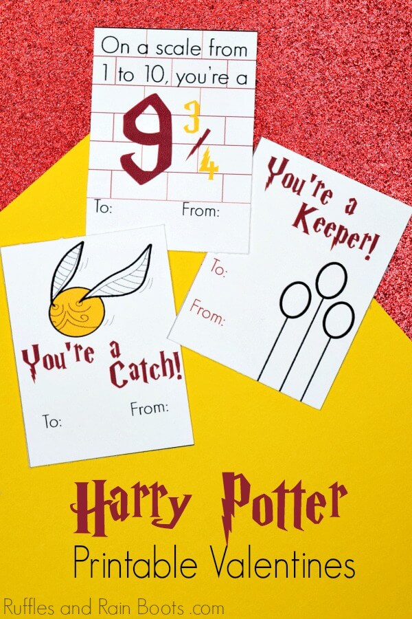 Harry Potter Valentines on red and yellow background
