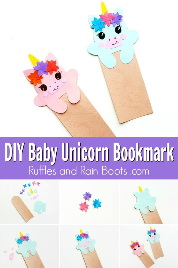 photo collage of diy unicorn hug bookmark for early readers