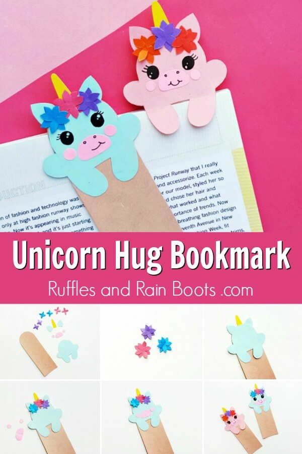 printable bookmarks for kids collage with text which reads unicorn hug bookmar