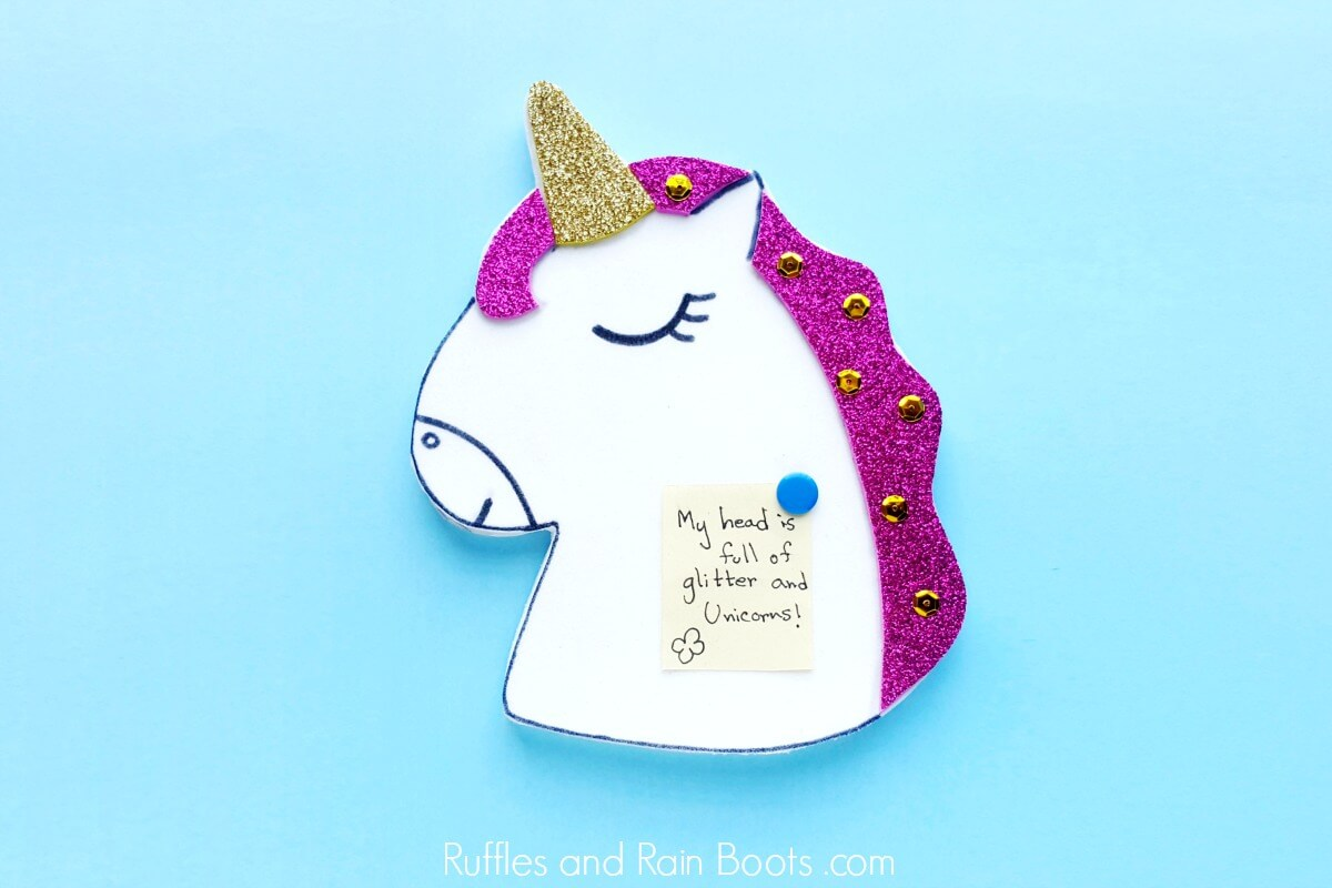 close up of diy unicorn pin board craft for back to school