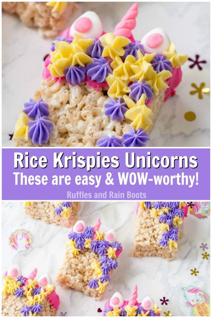 collage with unicorn Rice Krispies close up on top and Bottom showing multiple unicorn Rice Krispies with text Rice Krispies unicorns these are easy & wow-worthy!