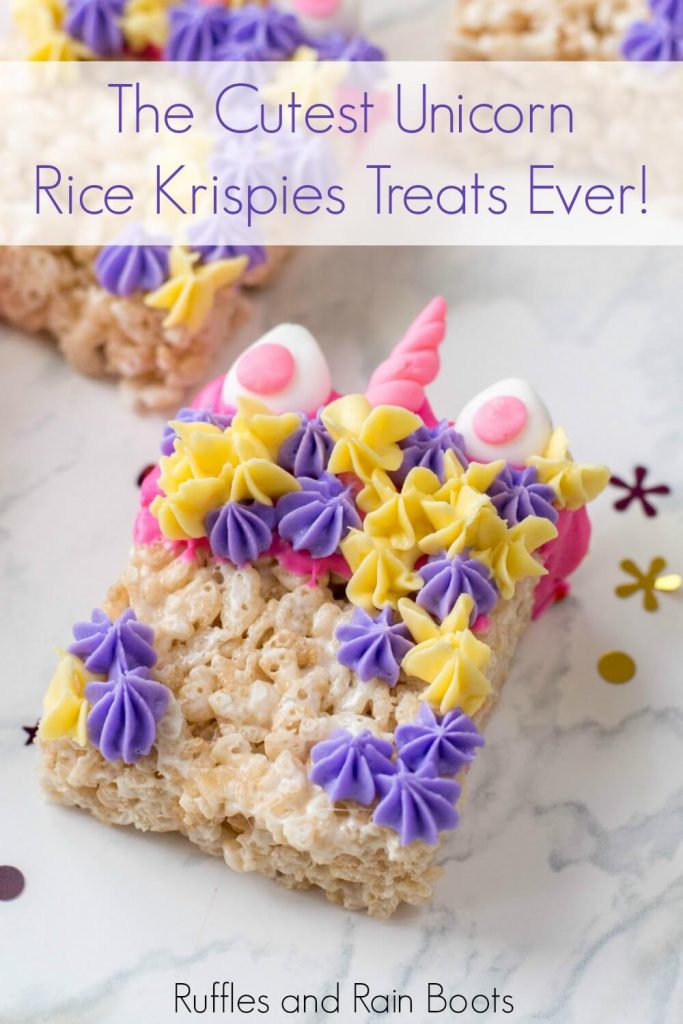 close up showing pink and yellow flowers on the unicorn Rice Krispies with text the cutest unicorn Rice Krispies treats ever!