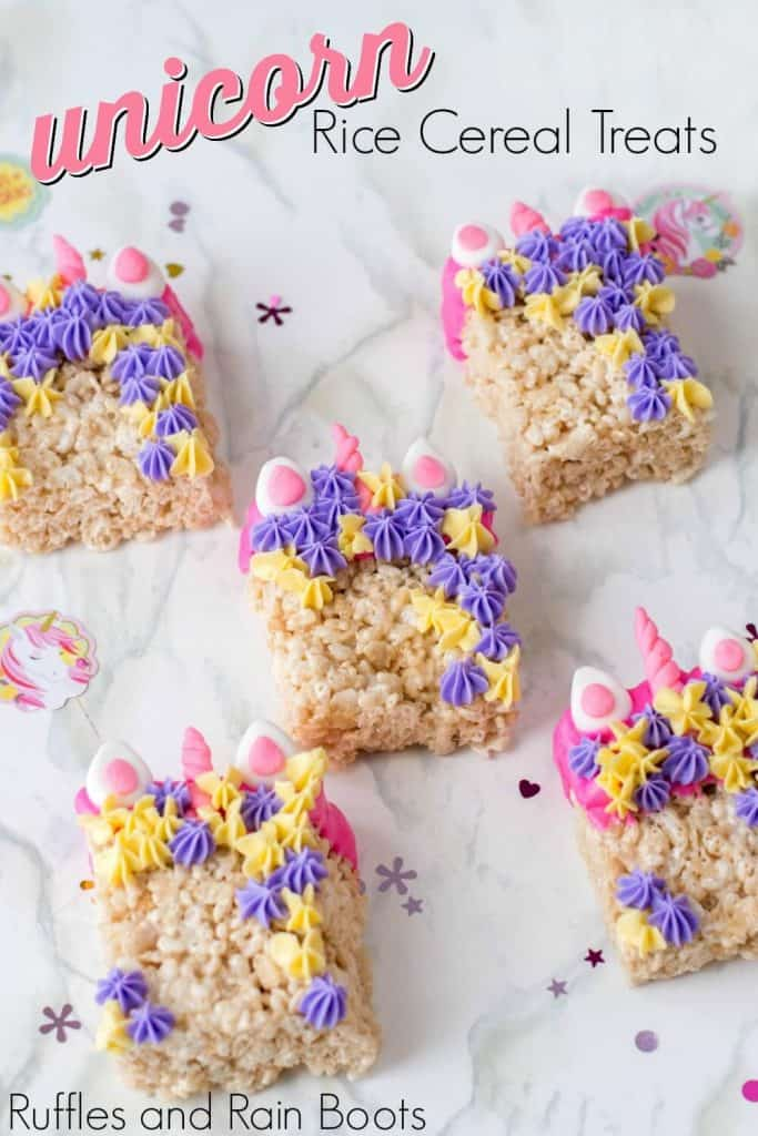 close up showing multiple unicorn rice krispies on white background with text unicorn rice cereal treats