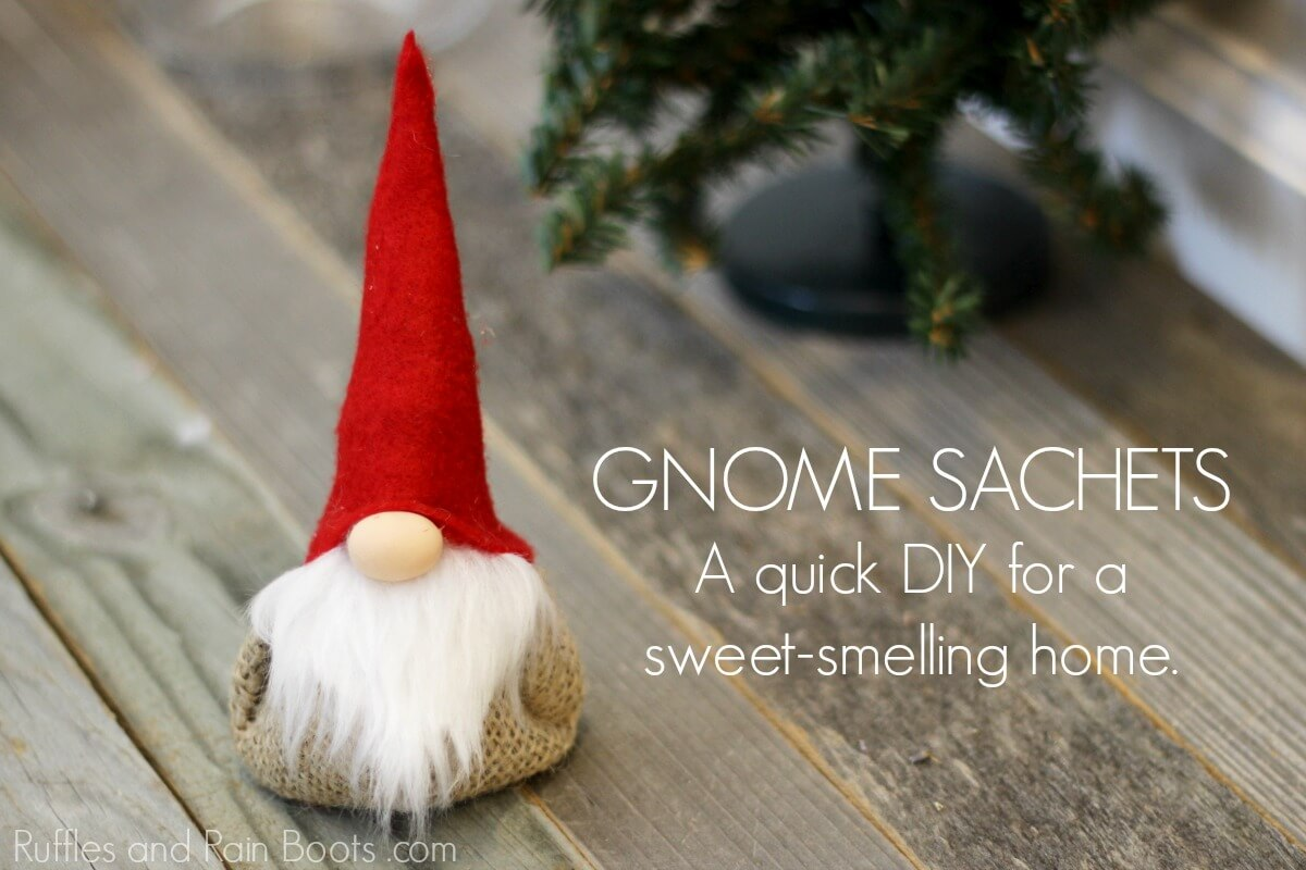 gnome lavender sachet on wood background with text which reads gnome sachet
