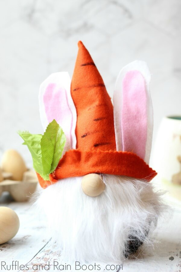 close up of Easter bunny gnome with felt and no sewing