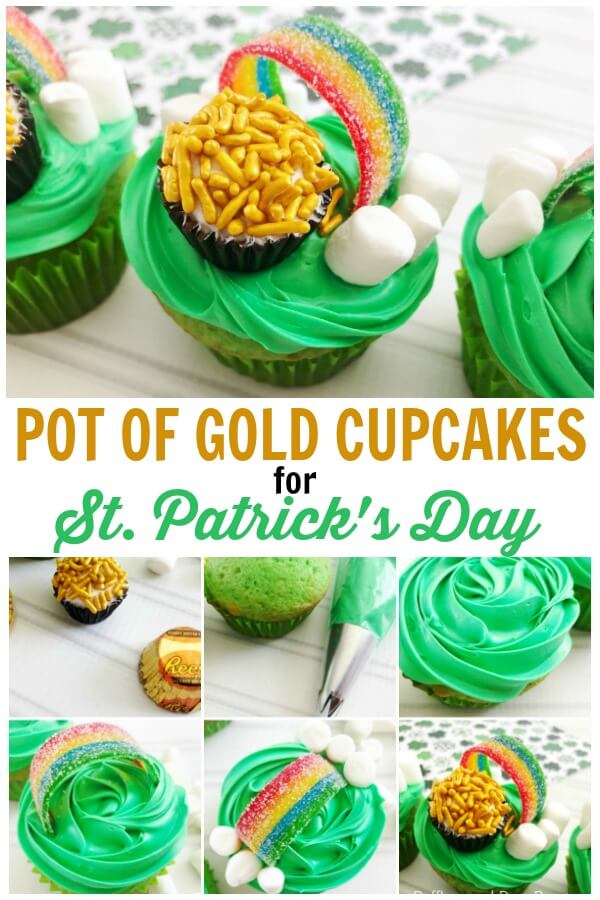 Pot of gold cupcakes with rainbow candy close up