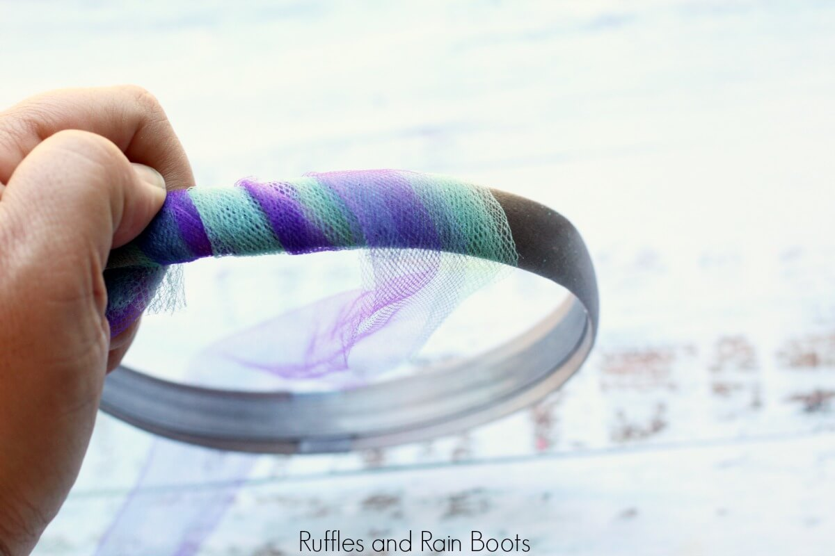1 - wrap headband with teal and purple tulle and secure with glue