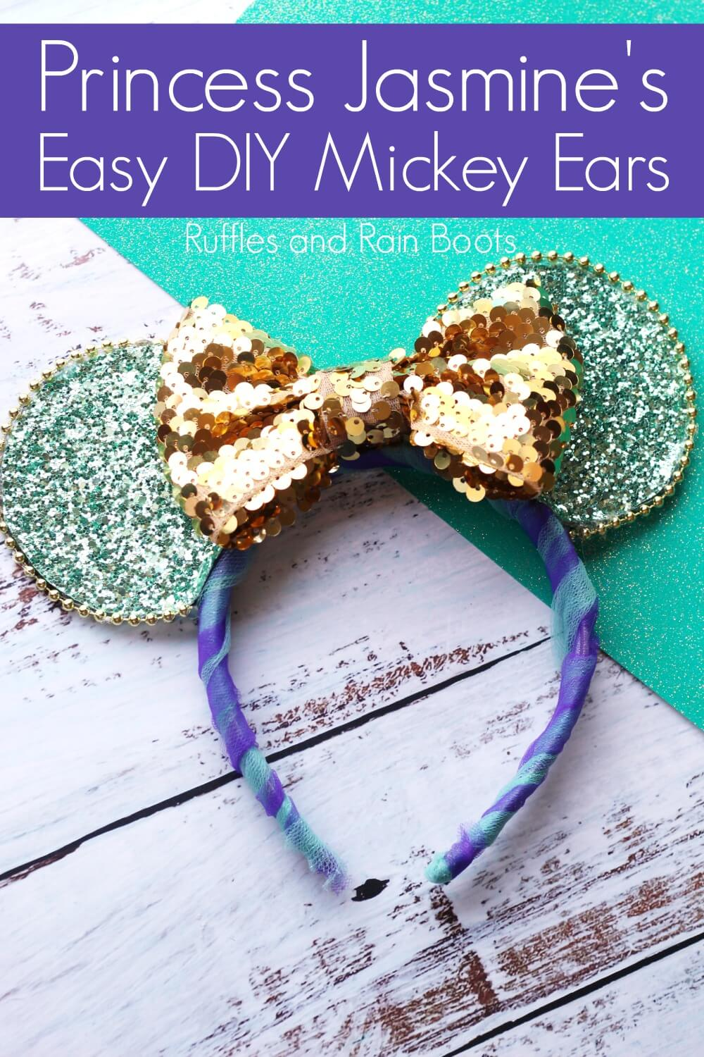 DIY Aladdin Minnie Mouse ears on wood and blue background with text which reads Princess Jasmine Easy DIY Mickey Mouse ears
