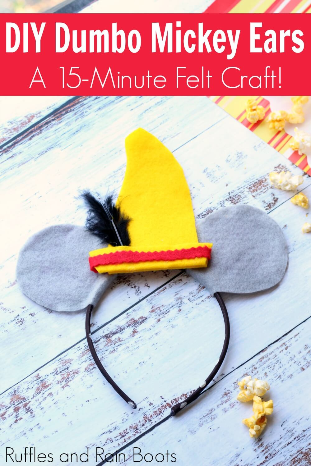 easy Disney felt mouse ears with text which reads DIY Dumbo Mickey ears